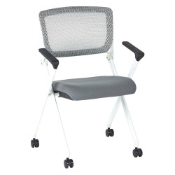 Office Star Products - 848W-5811 - White Aluminum Stacking Chair with Gray Seat Color, 1EA