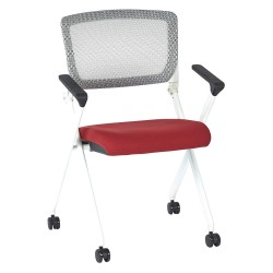 Office Star Products - 848W-5812 - White Aluminum Stacking Chair with Rouge Seat Color, 1EA