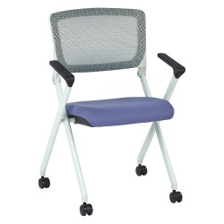 Office Star Products - 848W-5819 - White Aluminum Stacking Chair with Violet Seat Color, 1EA
