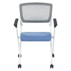 Office Star Products - 848W-5877 - White Aluminum Stacking Chair with Sky Seat Color, 1EA