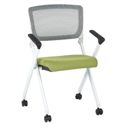 Office Star Products - 848W-5879 - White Aluminum Stacking Chair with Olive Seat Color, 1EA