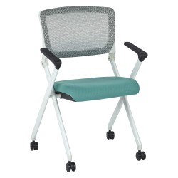 Office Star Products - 848W-5881 - White Aluminum Stacking Chair with Jade Seat Color, 1EA