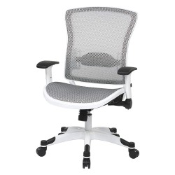 Office Star Products - 317W-W11C1F2W - White Mesh Desk Chair 22-3/4 Back Height, Arm Style: Adjustable