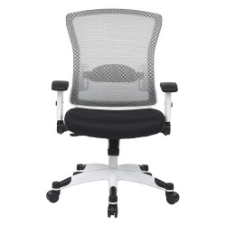 Office Star Products - 317W-W1C1F2W-3M - White Mesh Desk Chair 22-3/4 Back Height, Arm Style: Adjustable