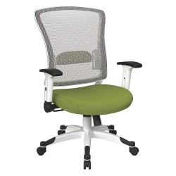 Office Star Products - 317W-W1C1F2W-6 - White Mesh Desk Chair 22-3/4 Back Height, Arm Style: Adjustable