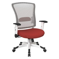 Office Star Products - 317W-W1C1F2W-9 - White Mesh Desk Chair 22-3/4 Back Height, Arm Style: Adjustable