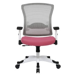 Office Star Products - 317W-W1C1F2W-261 - White Mesh Desk Chair 22-3/4 Back Height, Arm Style: Adjustable