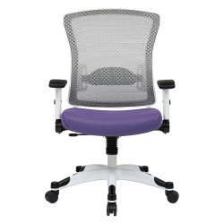 Office Star Products - 317W-W1C1F2W-512 - White Mesh Desk Chair 22-3/4 Back Height, Arm Style: Adjustable