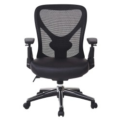 Office Star Products - 27284 - Black Mesh Desk Chair 18-1/2 Back Height, Arm Style: Adjustable