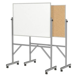 Ghent - ARMK34 - Gloss-Finish Melamine Dry Erase Board, Mobile/Casters, 78-1/4H x 53-1/4W, White