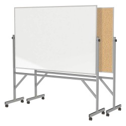 Ghent - ARMK46 - Gloss-Finish Melamine Dry Erase Board, Mobile/Casters, 78-1/4H x 77W, White