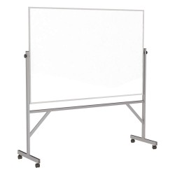 Ghent - ARMM46 - Gloss-Finish Melamine Dry Erase Board, Mobile/Casters, 78-1/4H x 77W, White