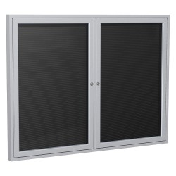Ghent - PA23648BXBK - Ghent Outdoor Letterboards - 36 Height x 48 Width - Weather Resistant, Shatter Resistant, Lock, Water Resistant, Mounting System - Satin Aluminum Frame - 1 Each