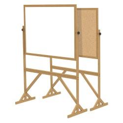 Ghent - RMK34 - White Melamine/Cork Dry Erase Board, Wood Frame Material, 55 Width, 73-1/2 Height
