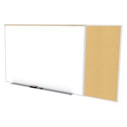 Ghent - SPC412C-K - White Porcelain Steel/Cork Dry Erase Board, Aluminum Frame Material, 144-15/16 Width