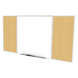 Ghent - SPC416D-K - White Porcelain Steel/Cork Dry Erase Board, Aluminum Frame Material, 192-23/32 Width