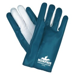 Memphis Glove - 9725XL - Nitrile Chemical Resistant Gloves, Standard Weight Thickness, Interlock Lining, Size XL, Blue/White