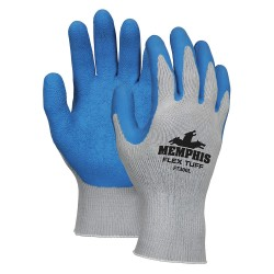 Memphis Glove - FT300M - Md Flextuff- 10 Ga Cot/poly Gray Shell W/blue