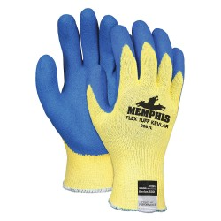 Memphis Glove - 9687XL - Latex Cut Resistant Gloves, ANSI/ISEA Cut Level 2, Kevlar® Lining, Yellow/Blue, XL, PR 1