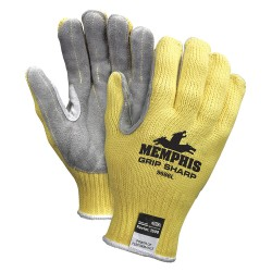 Memphis Glove - 9686L - Leather Cut Resistant Gloves, ANSI/ISEA Cut Level 3, Kevlar® Lining, Yellow/Gray, L, PR 1