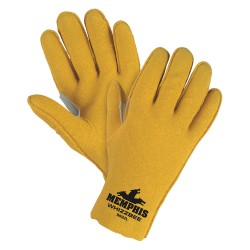 Memphis Glove - 9892L - Memphis Large Whizzbee Gold Vinyl Dipped Palm Coated Work Gloves With Jersey Liner And Scalloped And Slip-On Cuff
