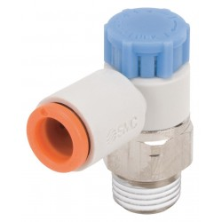 SMC - AS2211F-N01-01SA - Electroless Nickel-Plated Brass and PBT Elbow Speed Control Valve with 1/8 Tube Size