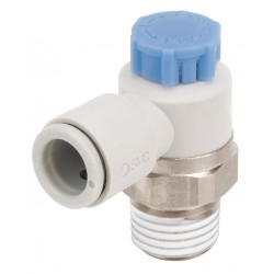SMC - AS2211F-N02-07SA - Electroless Nickel-Plated Brass and PBT Elbow Speed Control Valve with 1/4 Tube Size