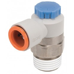 SMC - AS4211F-N04-11SA - Electroless Nickel-Plated Brass and PBT Elbow Speed Control Valve with 3/8 Tube Size