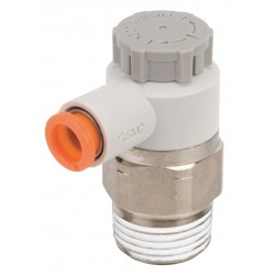 SMC - AS3201F-N03-07SA - Electroless Nickel-Plated Brass and PBT Elbow Speed Control Valve with 1/4 Tube Size