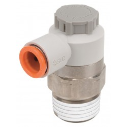 SMC - AS4201F-N04-13SA - Electroless Nickel-Plated Brass and PBT Elbow Speed Control Valve with 1/2 Tube Size