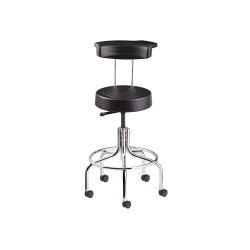 Bevco Precision - S3210R-BLACK - Ergonomic Stool with 20-1/2 to 25-1/2 Seat Height Range and 300 lb. Weight Capacity, Chrome Base/B