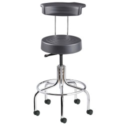 Bevco Precision - S3210R-GRAPHITE - Ergonomic Stool with 20-1/2 to 25-1/2 Seat Height Range and 300 lb. Weight Capacity, Chrome Base/G