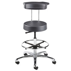Bevco Precision - S3550R-GRAPHITE - Ergonomic Stool with 23-1/2 to 33-1/2 Seat Height Range and 300 lb. Weight Capacity, Gray