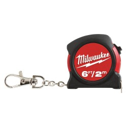 Milwaukee Electric Tool - 48-22-5506 - 6 ft. Steel SAE/Metric Key Chain Tape Measure, Black/Red