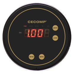 Cecomp / API - C1000-05 +/-4.00' WC H20 - 13/64 Smooth Barb Digital Differential Pressure Gauge with 5 Dial, -4 to 0 to 4 In. H2O