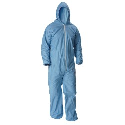Lakeland - 07428B-MD - Flame-Resistant Hooded Coverall with Elastic Cuff, Blue, M, Pyrolon Plus 2
