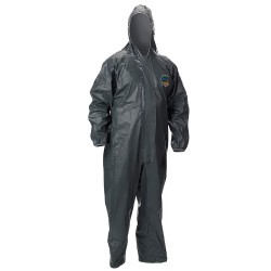 Lakeland - 51130-MD - Hooded Chemical-Resistant FR Coveralls with Elastic Cuff, Gray, M, Pyrolon CRFR