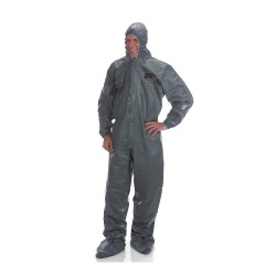 Lakeland - 51150-MD - Hooded Chemical-Resistant FR Coveralls with Elastic Cuff, Gray, M, Pyrolon CRFR