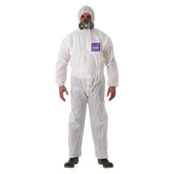 Ansell-Edmont - 68-1500 - Collared Coverall with Elastic Wrists Cuff, White, S, SMS