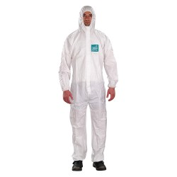 Ansell-Edmont - 68-1800 - Collared Coverall with Elastic Wrists Cuff, White, S, Microporous Laminate