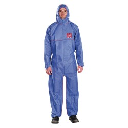 Ansell-Edmont - 68-1500 PLUS FR - Collared Coverall with Elastic Wrists Cuff, Navy, S, SMS