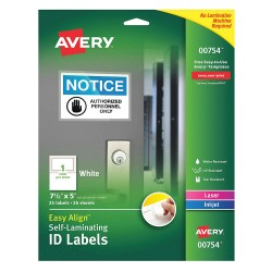 Avery Dennison - 00754 - Overlaminate Label, Polyester, PK25