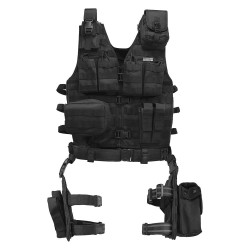 Barska - BI12016 - Barska BI12016 VX-100 Customizable Loaded Gear Black Tactical Vest, Leg Platform