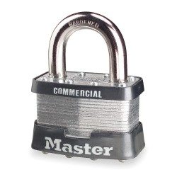 "Master Lock - 5KA-3358 - Alike-Keyed Padlock, Open Shackle Type, 1"" Shackle Height, Silver"