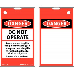 Electromark - 60345D - Lockout Tag, Polyester, Blk/Red/Wht