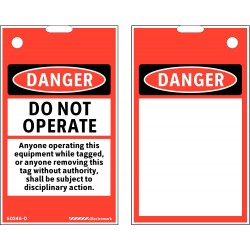 Electromark - 60346D - Lockout Tag, Polyester, Blk/Red/Wht