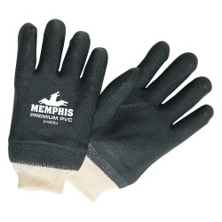 Memphis Glove - 6100SJ - PVC Chemical Resistant Gloves, Standard Weight Thickness, Jersey Lining, Size L, Natural/Black
