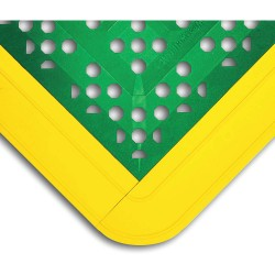 Wearwell / Tennessee Mat - 546 - Interlocking Drainage Mat, Vinyl, Green with Yellow Border, 2 ft. 6 x 2 ft. 3, 1 EA