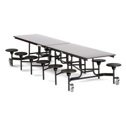 National Public Seating - MTS12-MDPEPC-GY-10 - 12-Seat Rectangle Mobile Stool Table, Gray, 29 Height x 145 Width