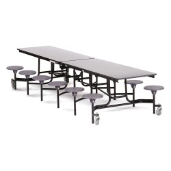 National Public Seating - MTS12-MDPEPC-GY-02 - 12-Seat Rectangle Mobile Stool Table, Gray, 29 Height x 145 Width